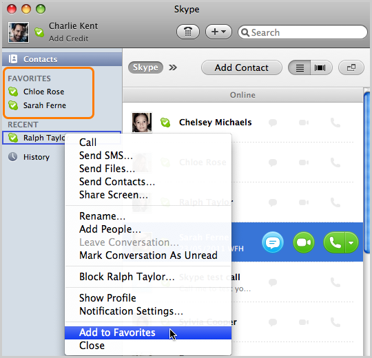 How do I manage my contacts in Skype for Mac OS X? - Help