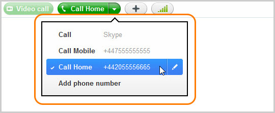 Call mobile drop-down