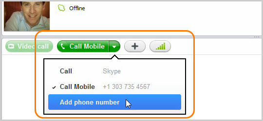 Call phone dropdown menu